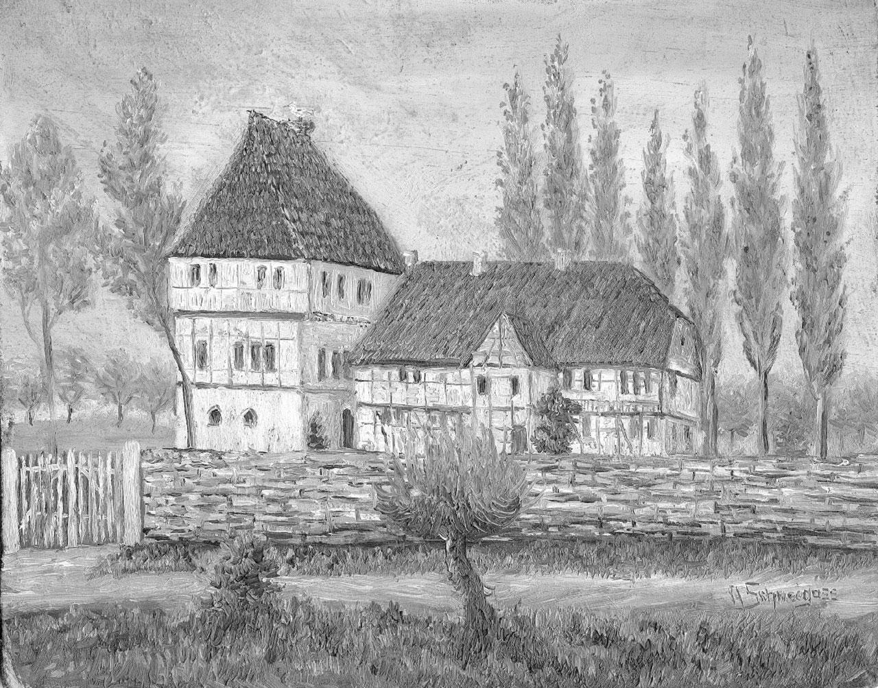 Wasserschloss von Laucha Gemälde
