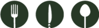 Symbole Speisekarte - Gabel, Messer, Löffel